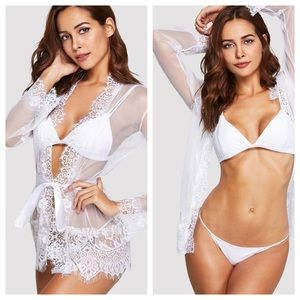 Other - Eyelash lace trim robe with thong
